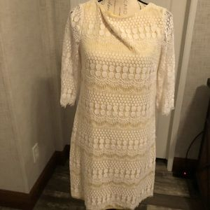 J Howard ivory lace with yellow lined midi 12